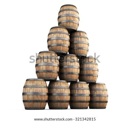 Stack of barrels for wine isolated on white background. 3d render image. - stock photo