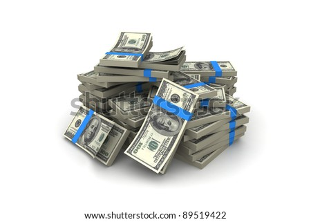 Stack of $100 bills - stock photo
