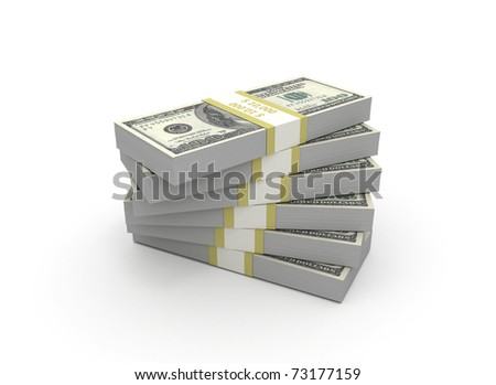 Stack of 100 bills in a spiral shape - stock photo