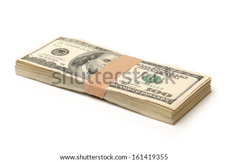 Stack of $100 bills on white background