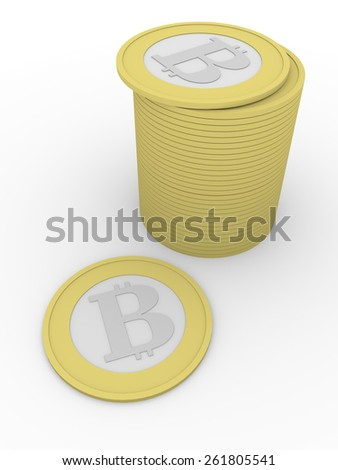 stack of bitcoins, new virtual money for internet trading and business - stock photo