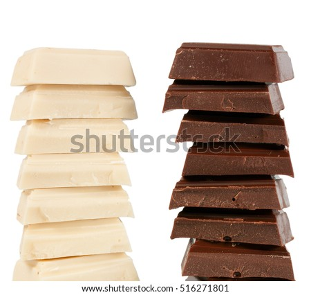 Stack of Black and White Chocolate isolated on white background