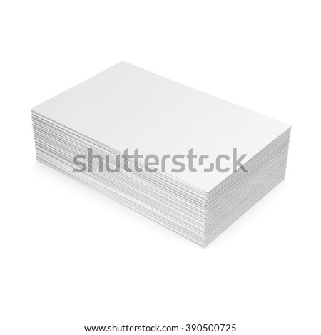 Stack of blank business card on white background.