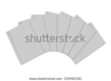 Stack of blank magazines template. on white background with soft shadows. Ready for your design. - stock photo