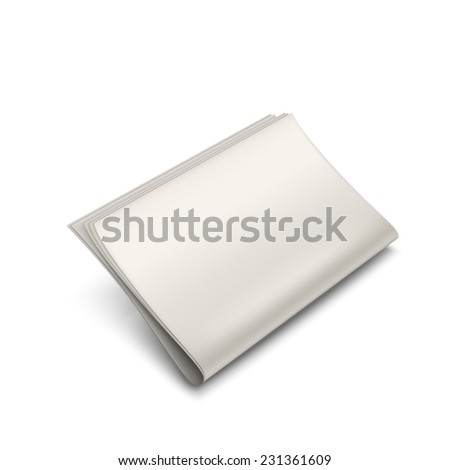 stack of blank newspapers isolated on white background