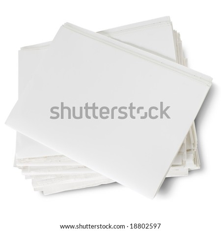 stack of blank newspapers on white - stock photo