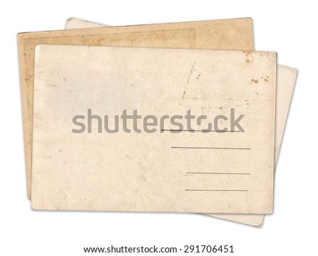 Stack of blank old vintage postcard isolated on white background - stock photo
