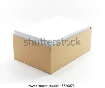 Stack of blank paper in boxes