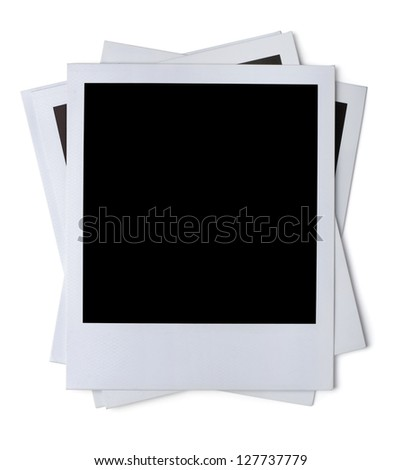Stack of blank paper photo frames isolated on white - stock photo