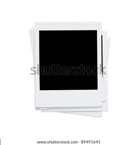Stack of blank photos on white with clipping path - stock photo