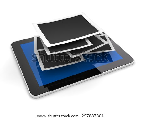 Stack of blank picture frames on a tablet, 3d render, white background - stock photo