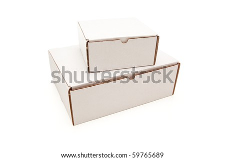 Stack of Blank White Cardboard Postal Boxes Isolated on a White Background.