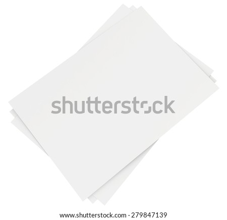 Stack of blank white sheets. 3d render - stock photo