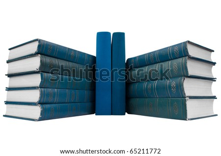 Stack of  blue books isolated on white background. wide angle. - stock photo