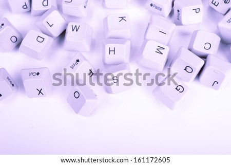 Stack of blue Computer Keyboard keys - stock photo