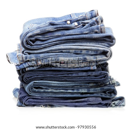 stack of blue denim clothes
