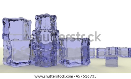 stack of blue jello cubes 3d render - stock photo