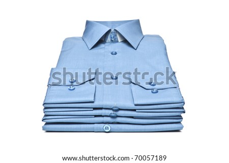Stack of blue man's shirt - stock photo