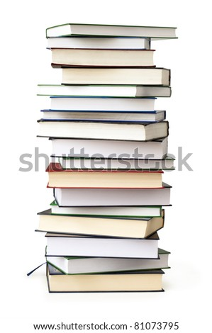 stack of book isolated on white - stock photo