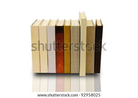 Stack of book on white background with clipping path - stock photo