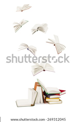 stack of  books and flying books isolated on white - stock photo