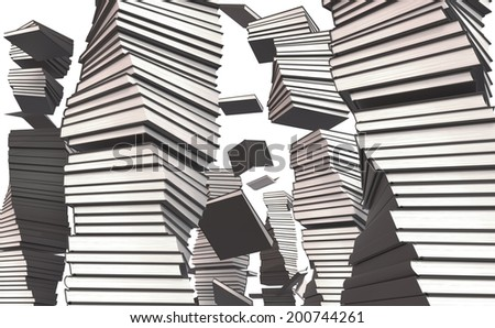 Stack of books, flying book - stock photo