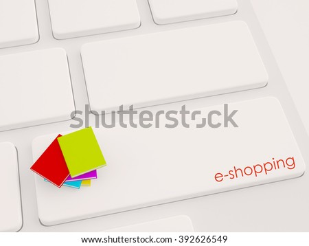 stack of books for shopping, online concept technology - stock photo
