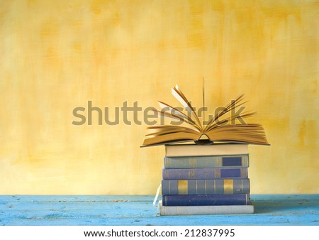 stack of books,free copy space - stock photo