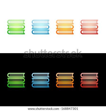 Stack of Books Icon.  Glossy Icon Set.  Raster version. - stock photo