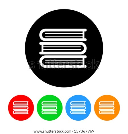 Stack of Books Icon with Color Variations.  Raster version. - stock photo