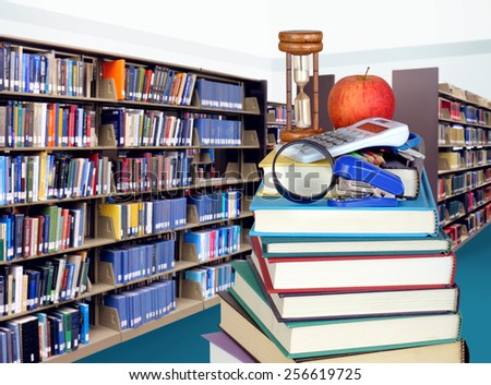 stack of books in library for education concept - stock photo