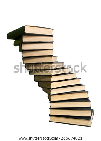 stack of books in the form of a spiral