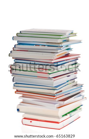 Stack of books. Isolated and insulated orphaned background