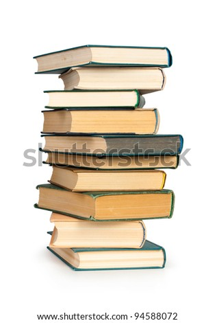 Stack of books isolated on the white - stock photo