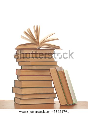 Stack of books isolated on the white background - stock photo