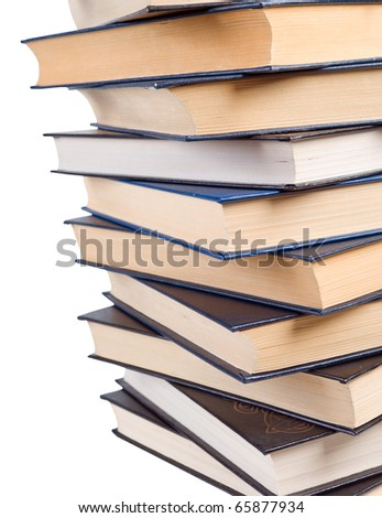 Stack of books isolated on the white.clipping Path