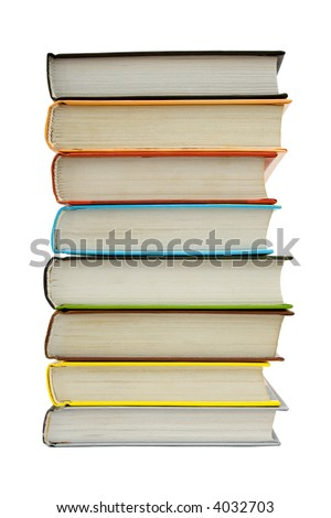 Stack of books, isolated on white background - stock photo