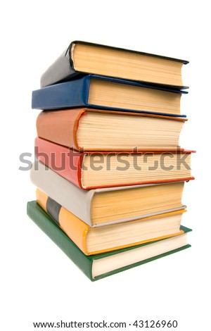 Stack of books. Isolated on white background. - stock photo