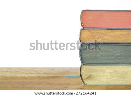 stack of books, isolated on white background,free copy space - stock photo