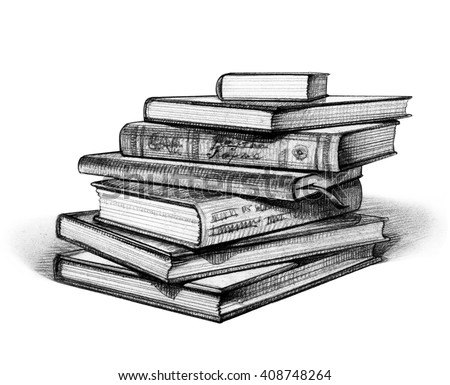 Stack of books isolated on white hand drawn illustration pencil drawing