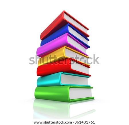 Stack of books isolated on white with clipping path.