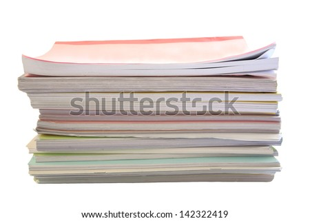Stack of books isolated on white (Work load concept) - stock photo
