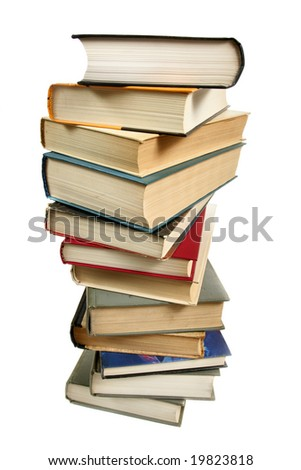 Stack of books isolated over white background