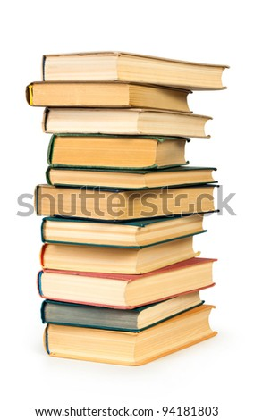 Stack of books isolated over white background - stock photo