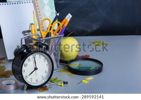 Stack of Books on A Desk for Back to School - stock photo