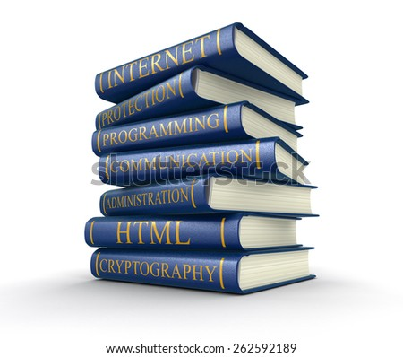 Stack of books on computer security - stock photo