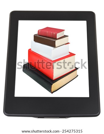 stack of books on screen of e-book reader isolated on white background - stock photo