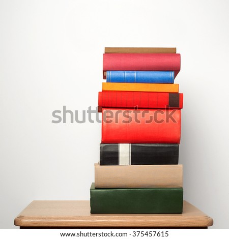 stack of books on the table - stock photo