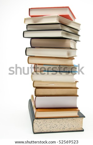 Stack of books on white background. - stock photo