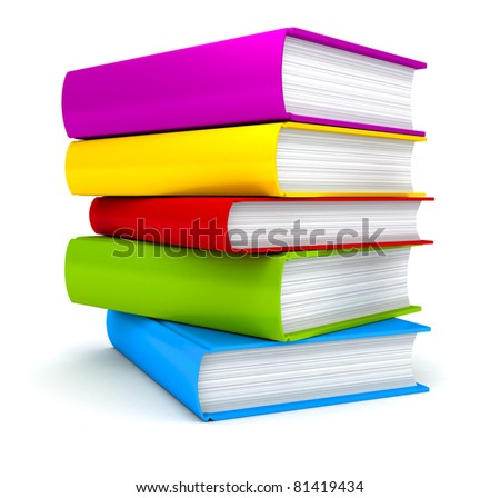 Stack of Books on white background . 3d render - stock photo